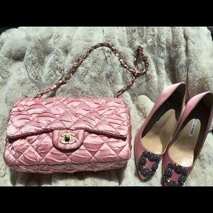 Chanel pink satin bag